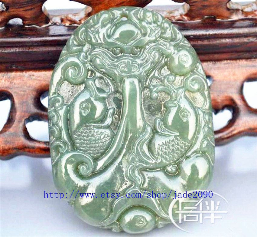 Primary image for Free Shipping - Real green jade chinese dragon , Natural dark green jade carved