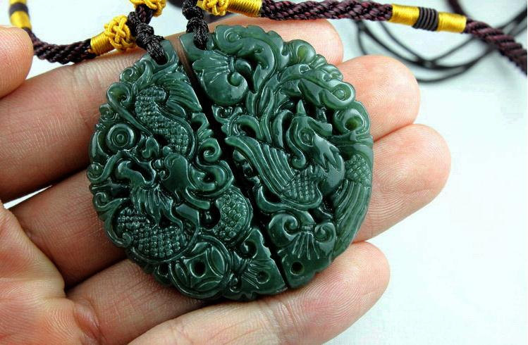Primary image for Free Shipping -  Couple pendants , green jadeite jade , Hand- carved Natural  gr