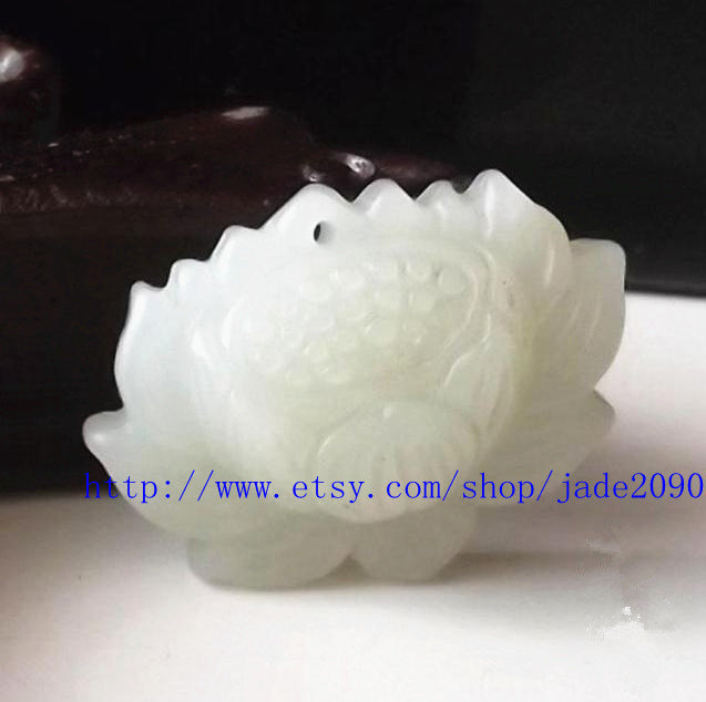Primary image for Free shipping - Hand carved  Natural white  jade jadeite buddha Lotus / buddha f