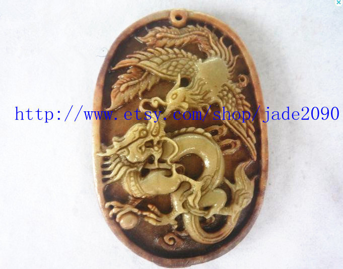 Primary image for Free Shipping -  yellow jadeite jade , Hand- carved Natural  jadeite jade Dragon