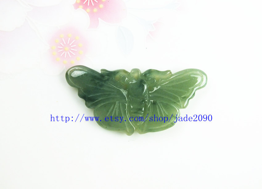 Primary image for Free Shipping - Lovely Hand-carved Natural Real  genuine jadeite Green Butterfly