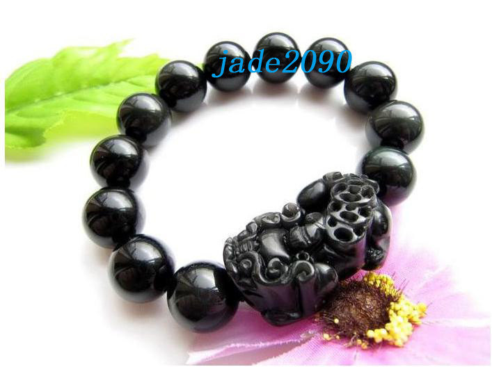 Primary image for Free Shipping - good luck natural black agate '' PI YAO'' Prayer Beads charm bra