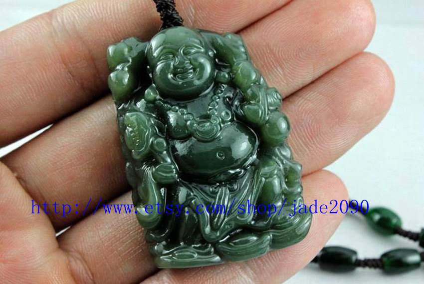 Primary image for Free Shipping - Tibet Buddhist Natural Green jadeite jade Laughing buddha charm