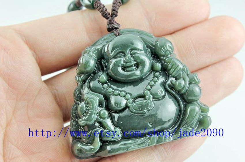 Primary image for Free Shipping -  Natural Green jadeite jade Laughing buddha charm jade pendant -