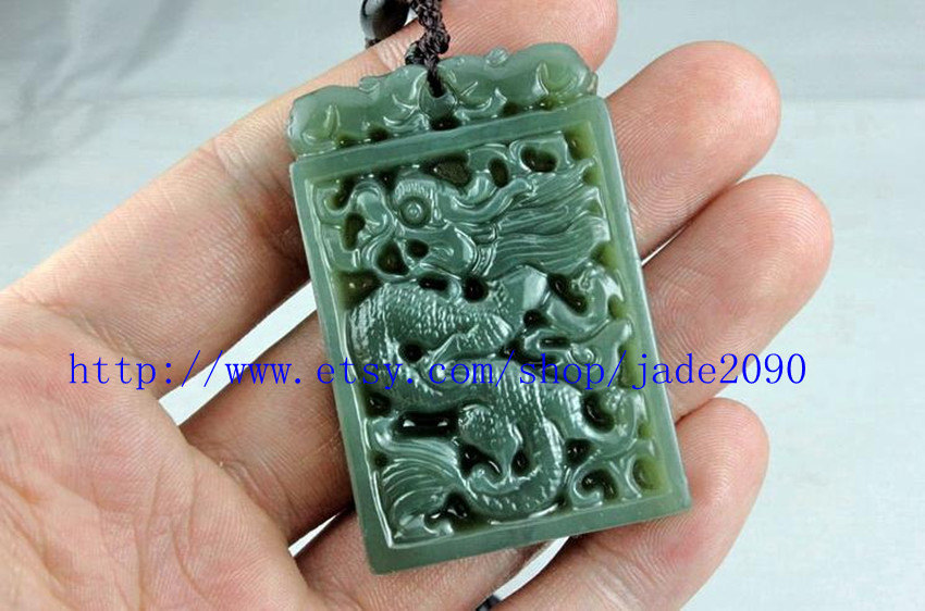 Primary image for Free Shipping - Real green jade dragon , Natural dark green jade carved Dragon c