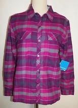 New Columbia Waverly Mountain Shirt Jacket Pink Gray Plaid Snap Barn Coat Large - $43.93