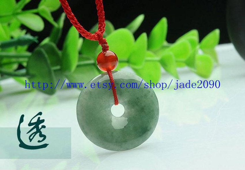 Primary image for Free Shipping -   Natural green jade jadeite Pray for health buckle Amulet charm
