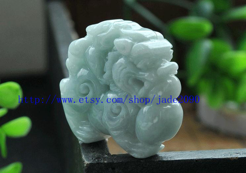 Primary image for Free Shipping -  Real 100% Natural Green jade Carved luck Pi Yao Amulet charm ja