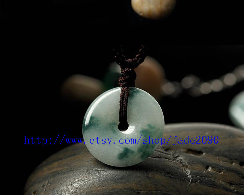 Primary image for Free Shipping - Hand carved Real Natural green jade jadeite prayer luck buckle A