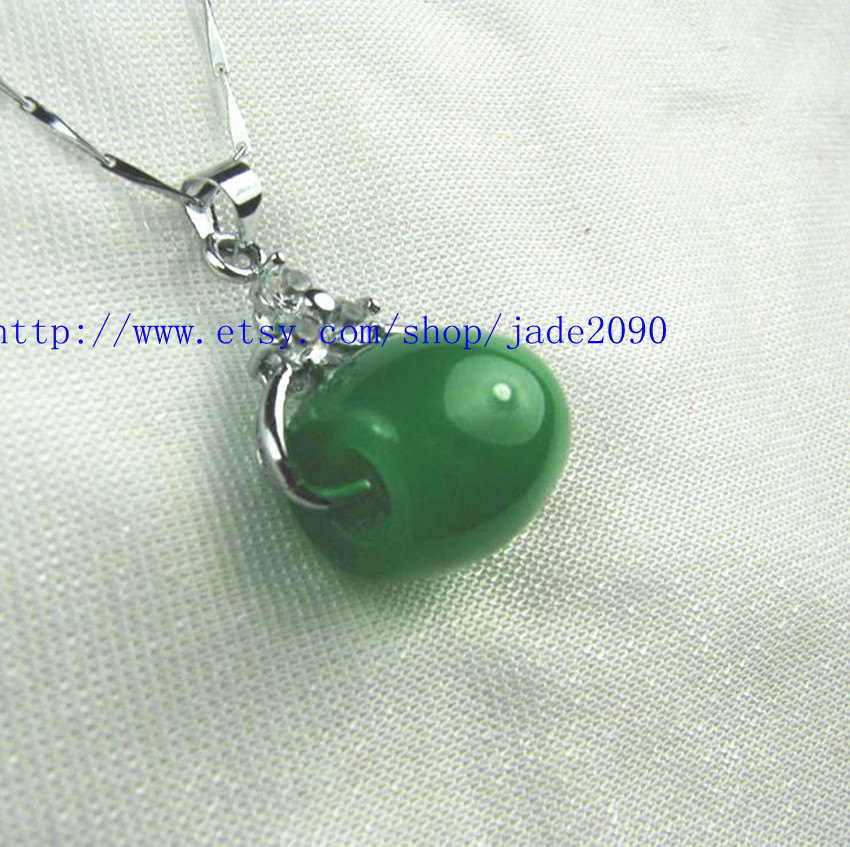 Primary image for Free Shipping - Hand carved Natural Green jade Ball charm Pendant / choker / nec