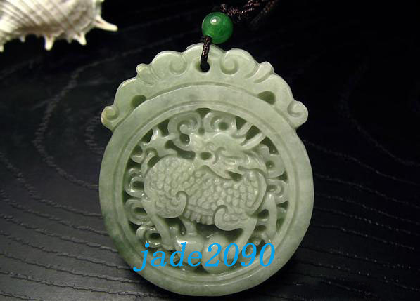 Primary image for Free Shipping - Amulet auspicious jade Dragon Natural  Green jadeite jade Carved