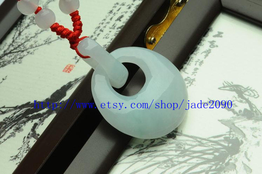 Primary image for Free shipping - good luck Real natural  White jadeite jade twin round charm jade