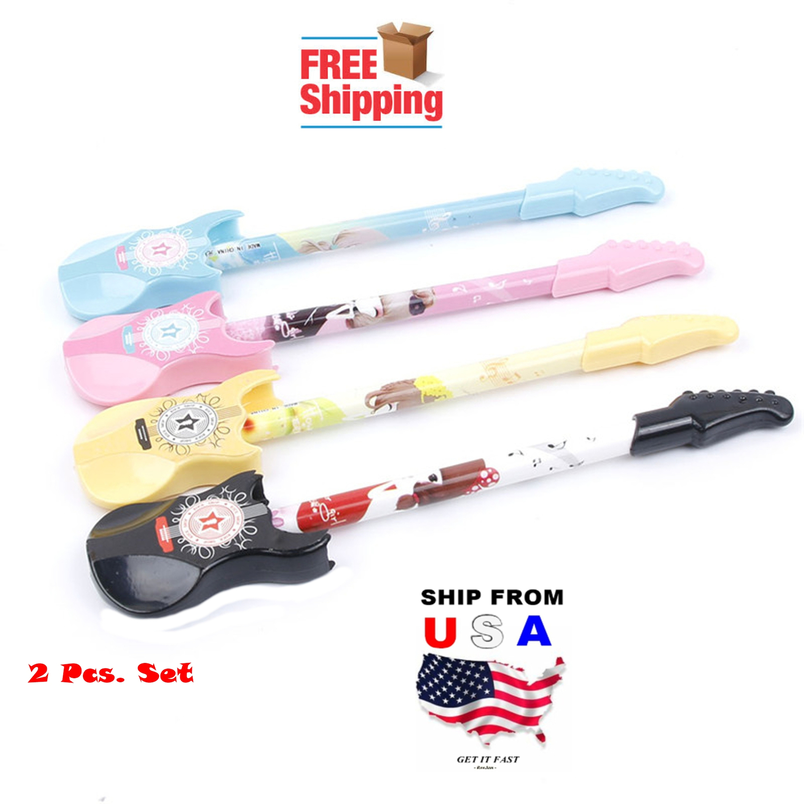 2 Pcs. Guitar Musical Ballpoint Pen + 2 Refill Cartridges School Supply Home