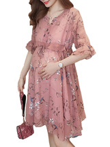 Maternity Dress Chic Floral V Neck Flare Sleeve Ruffles Loose Chiffon Dress - $39.99