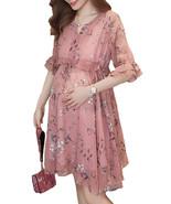 Maternity Dress Chic Floral V Neck Flare Sleeve Ruffles Loose Chiffon Dress - $39.99
