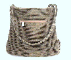 THE SAK Handbag Crochet Knit Brown Purse Shoulder Bag Double Strap - $19.99