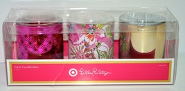 Lilly Pulitzer target GLASS VOTIVE CANDLEHOLDERS SET OF 3 PINK FLOWER GO... - $28.49