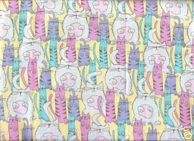 FUN CATS Yellow Pink Lavender Springs Fabric