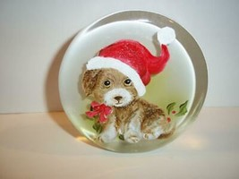Fenton Glass Santa Puppy Dog Christmas Paperweight Figurine Ltd Ed M Kib... - $174.12