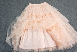 Blush Layered Tulle Skirt Outfit Midi Tiered Tulle Skirt Plus Size Holiday Skirt image 4