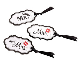 Honeymoon Gifts Lips Mustache Luggage Tags Wedding Gifts Mr Mrs and More... - $9.90