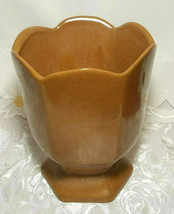"""VINTAGE FRANKLIN RUST BROWN VASE POTTERY SIGNED Approx 6 1/2"""" X 5 1/4"""" x 5 1/4"""" image 2"""