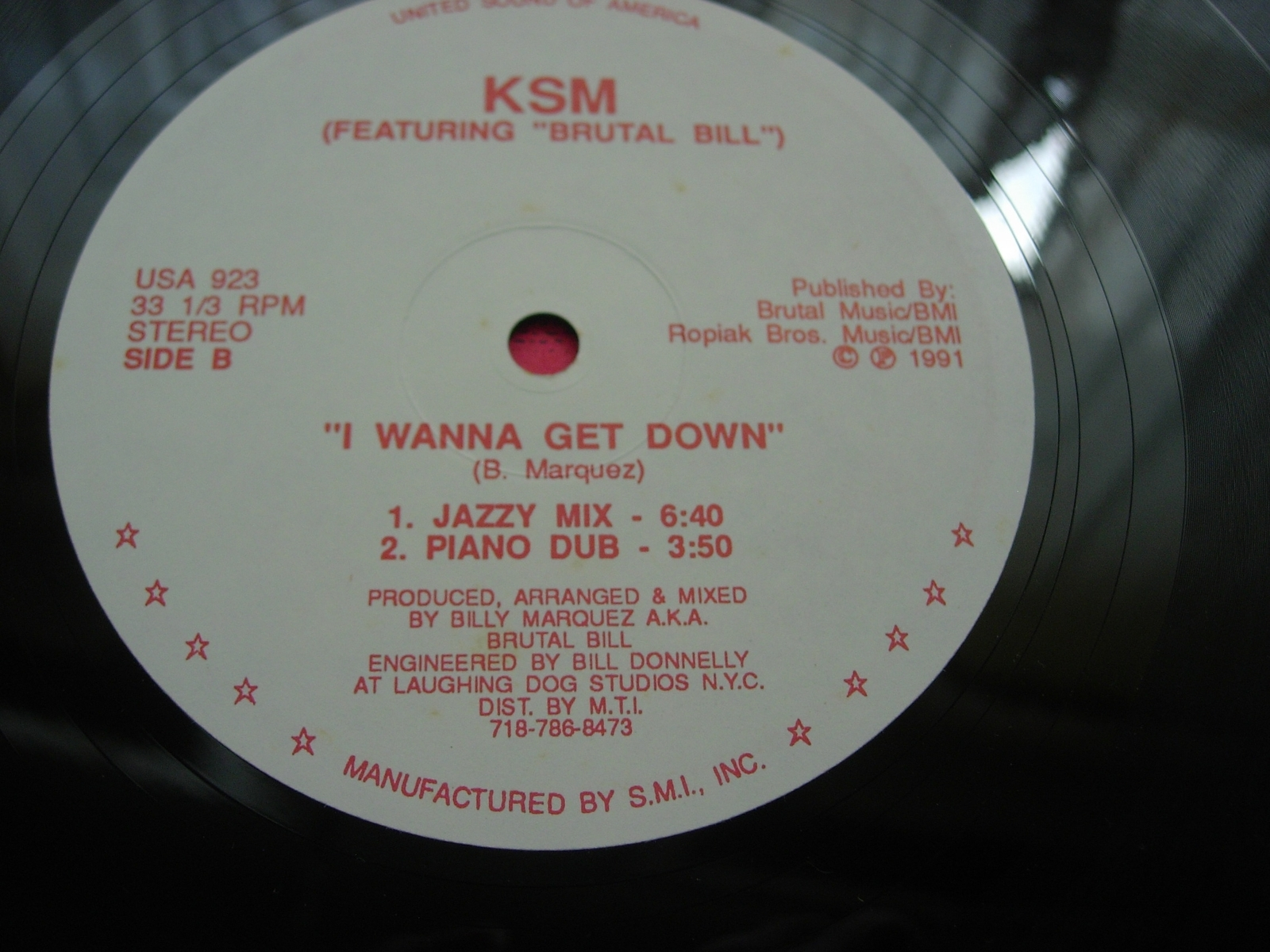 KSM featuring Brutal Bill - I Wanna Get Down - United Sound of America USA 923