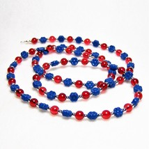 Blue and Red Beaded Eyeglass Chain - $22.88