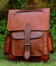 "New 15"" Real Handmade Brown Leather Vintage Rucksack Bag Laptop Backpack  - ₹4,476.19 INR"