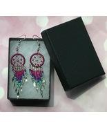 Earrings, Rose Native American Dreamcatcher, Fish hook ear wire, Beads, ... - $9.79