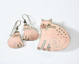 LAUREL BURCH Cat Pin, Cat Earrings, Set, Keshire Cat, Pink Kitty, Silver... - $85.00