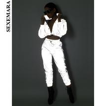 BOOFEENAA Reflective Two Piece Set Drawstring Crop Top and Pants Hip Hop... - $43.06