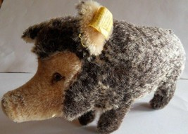 Steiff boar pig mohair with button flag stuffed animal made in Germany 1152 - $52.77