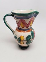 Vintage Italy Italian Art Pottery Pitcher Hand Crafted Numbered  - $27.60