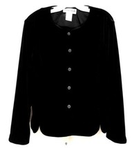 Ronni Nicole Sz XL Lux Black Velvet Topper w/Silver Jeweled Buttons Wome... - $27.55