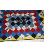 handcrafted quilt race car themed blue 34 x 43 lap baby toddler wheelchair - $40.00