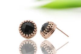 Rose gold earrings,black onyx earrings,pink gold earrings,post earrings,... - $52.00+
