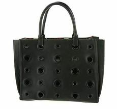 Steve Madden NWT $98 Black Tote Shopper Bag Balissa Plaid Lined Grommet ... - $39.59