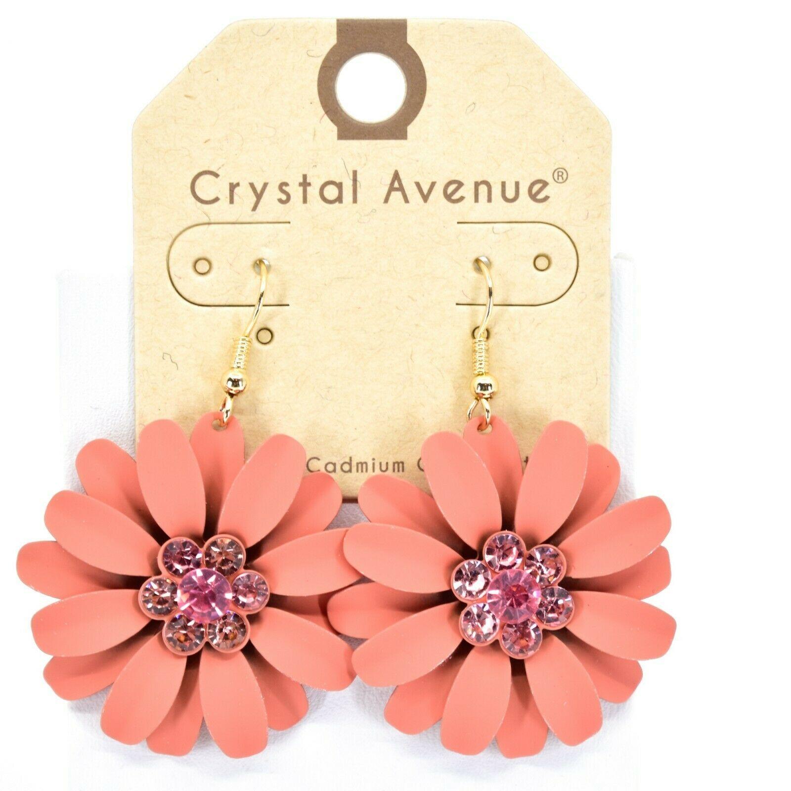 """Crystal Avenue Coral Red Orange Spring Flower 2"""" Drop Dangle Hook Metal Earrings"""