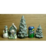 JC Penney Christmas Village Candle Set Display, Snowman, Tree, House/Cot... - $29.65