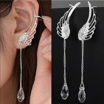 Fashion Angel Wing Stylist Silver Crystal Drop Earrings - Gorgeous! - $10.39