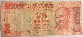 INDIA Rs. 20, 2015 Paper Money Bank Note  - $5.19