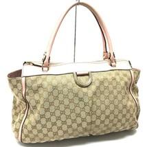 AUTHENTIC GUCCI GG D GOLD Shoulder Tote Bag Light Beige/Light Pink 190248 - $380.00