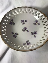 PV03311 Vintage Lefton #1656 LILAC Reticulated Bowl - $11.88