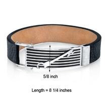 Mens Striped Key Black Leather & Stainless Steel Bracelet image 3