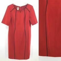 Anne Klein Red Short Sleeve Dress Women Size 12 Career Work Wear - $23.75