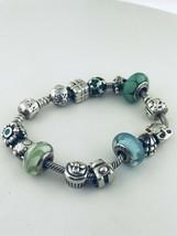 """Pandora Argent Sterling 14 Charms Bracelet 7.5 """" Pouce Long - $254.80"""