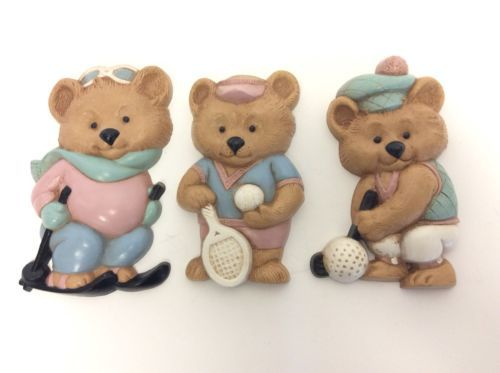 Vtg Burwood Sport Teddy Bears Wall Decor 3pc Accents 3269 Tennis Golf Ski Homco