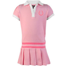 Indianapolis Colts Girl's 4-6x Cheer Dress NFL Drop-Waist Pleated Polo Pink NEW
