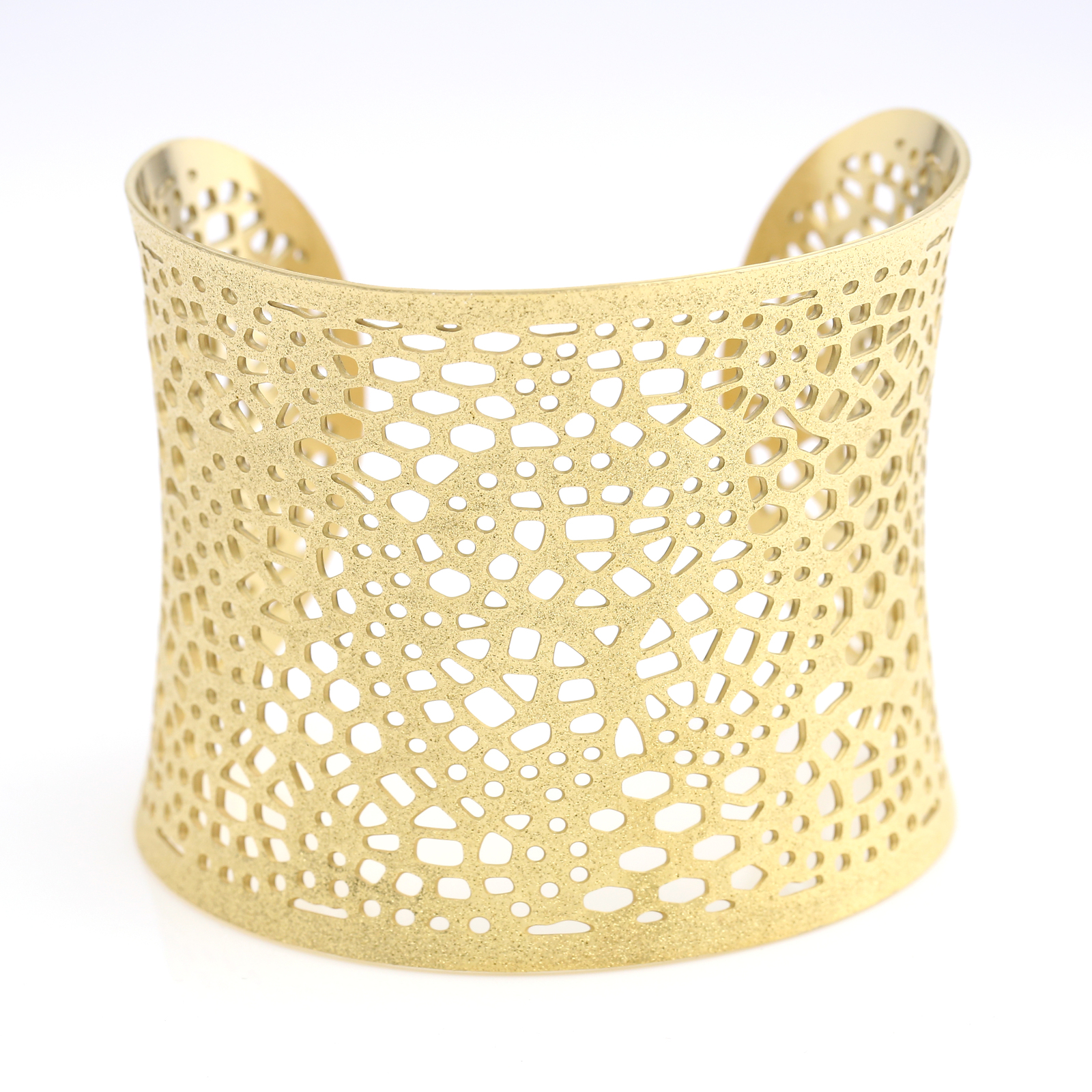 UNITED ELEGANCE Stylish Gold Tone Cuff Bracelet With Lace Cut Out Design
